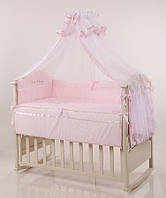 """Детский комплект постельного белья """"Голден""""  Swarovski 7 предметов нежно-розовый"""