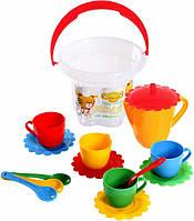 Набор игрушечной посуды Ромашка в ведре, 15 элементов
