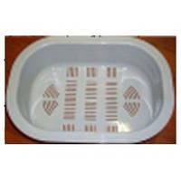 Прочный пластиковый коландер белого цвета прямоугольной формы для мытья овощей и фруктов от UKINOX C 38.27