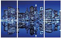 """Схема для частичной вышивки бисером """"Ночной город"""", триптих 49"""