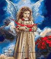 Картина по номерам  Ангел с рождественским подарком худ Кук, Сандра (VP432) 40 х 50 см
