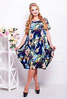 Платье Весеннее Свободного Кроя с Юбкой Тюльпан Цветочный Принт Синее р. 54-60
