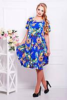 Платье Весеннее Свободного Кроя с Юбкой Тюльпан Цветочный Принт Голубое р. 54-60