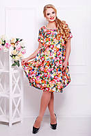 Платье Весеннее Свободного Кроя с Юбкой Тюльпан Цветочный Принт Белое р. 54-60