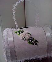 Сундук для свадебных денег с ручкой (белый)
