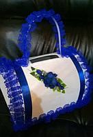 Сундук для свадебных денег с ручкой (синий)