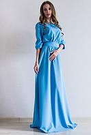 Платье женское в пол Лео голубое , платья интернет магазин