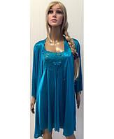 Комплект ночная рубашка+халат KR-8706 (бирюза)