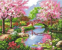 """Алмазные картины полной выкладки """"Мостик в цветущем саду"""" Размер: 41*33 см Код 198395"""