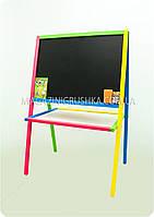 Мольберт двусторонний разноцветный (магнитный с полочкой), Бесплатная доставка