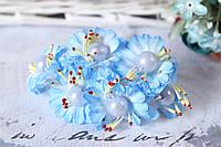 Цветы маргаритки с жемчугом 6 шт/уп, диаметр около 3.5 см, голубого цвета