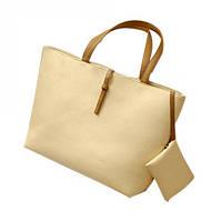 Большая легкая и вместительная сумка с кошельком (кремовая)