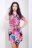 Платье Рубашка с Абстрактным Ярко Розовым Принтом на Пояске р.S-L
