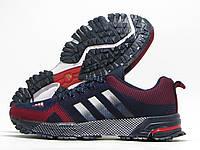 Кроссовки мужские Adidas Marathon 13 темно-синие с красным (адидас марафон)