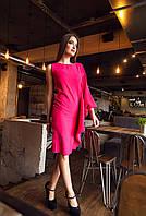 Платье с Ассиметричными Деталями по Колено с Одним Длинным Рукавом Малиновое р. S-M
