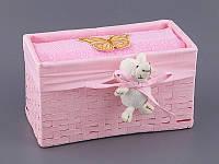 Полотенце банное 70Х140 см розовое в плетенной корзинке с декором 813-039