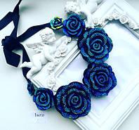 Колье женское Розы синие, вечерние украшения