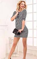 Эффектное летнее женское платье мини в черно-белую полоску рукав три четверти турецкая вискоза