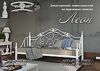 Новая металлическая кровать Леон на деревянных ногах