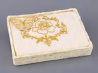 Полотенце для рук 50Х90 см бежевое в плетенной корзинке с декором 813-050