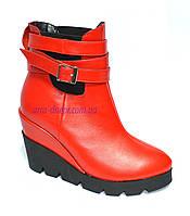 Стильные кожаные красные ботинки на платформе. Демисезон, фото 1