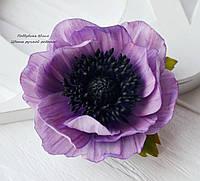 Анемон фиолетовый (заколка-зажим)