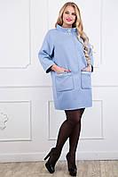Женское льняное пальто больших размеров (рр 48-58)