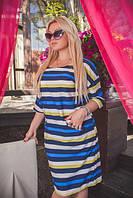 Трехцветное женское платье свободного кроя в полоску рукав три четверти креп-шифон батал
