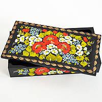 Украинский сувенир. Шкатулка для украшений Чернобрывцы в букете