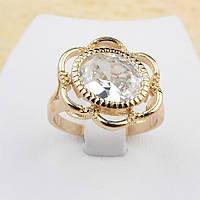 R1-0472 - Красивый позолоченный перстень с крупным прозрачным фианитом, 18.5 р.