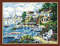 "Картина раскраска по номерам на холсте ""Тихая гавань"", 40х50см (MG210, КН210)"
