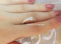 Нежное кольцо с фианитами из серебра