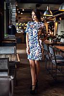 Атласное Платье Удобной Длины Цветочный Принт р. S-XL