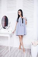 Платье Женственное для беременных рукав фонарик цвет светло серый