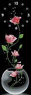 Заготовка для вышивки часов Розы на чёрном фоне