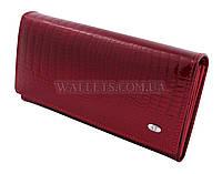 Женский кожаный кошелек ST, красный лак, мелочь на молнии