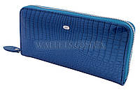 Женский кожаный кошелек ST Leather Accessories на молнии,синий лак.