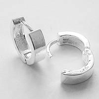 Серебристые серьги кольца для пирсинга ушей. Диаметр 10 мм.