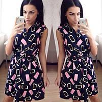 """Платье модное джинсовое """"Конфетка"""" без рукава SM112"""