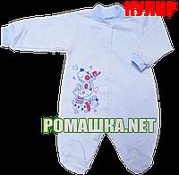 Человечек для новорожденного р. 86 тонкий ткань КУЛИР 100% хлопок ТМ Алекс 3045 Голубой