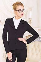 Пиджак Жани черный приталенный классический из костюмного шелка