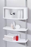 Шкафчик с двумя полочками для санузла с хромированными трубками
