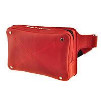 Женская кожаная напоясная сумка DropBag  красная жіноча шкіряна сумка