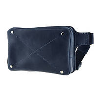 Женская кожаная напоясная сумка DropBag синяя жіноча шкіряна сумка