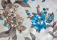 Ткани обивочные мебельные велюр ФАНТАЗИЯ ТУРКУАЗ (цветочные)