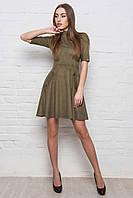 Замшевое платье с коротким рукавом болотного цвета