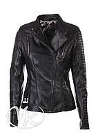 Черная кожаная куртка косуха, молнии