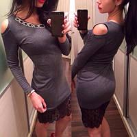 Повседневное модное серое платье с кружевом