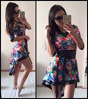 Стильное нарядное асимметричное платье с широким поясом (3 цвета)