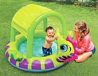 Надувной детский бассейн с навесом Морской конек Intex 57110